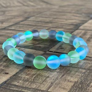 Blue Green Gray Mystic Aura Stretch Bead Bracelet